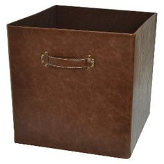 Threshold™ Foldable Faux Leather Fabric Cube Set of 2 - Brown