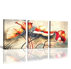 youkuart Hand Painted Canvas Wall Art Flowers Abstract Oil Painting Wall Art Contemporary Canvas Wall Decor for Living Room yh8a001 *** Find out more about the great product at the image link. (This is an affiliate link)