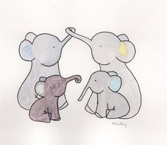 Elephant family watercolour