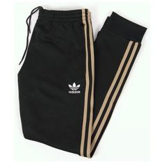 Adidas Originals Superstar Cuffed Track Bottoms Jungle Ink ($64) ❤ liked on Polyvore featuring activewear, activewear pants, bottoms, pants and adidas originals