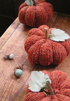 Hand knit pumpkin