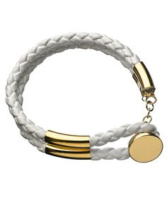 Seraphina White Rope Gold Button Bracelet