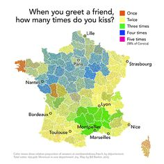 French kisses per greeting by region