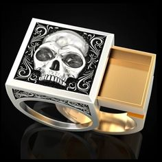 Once you go Black Beard ... This ornate skullface ring harkens back to the daze of yore during the Golden Age of Piracy. Now you too can keep piracy alive and kickin' (or slashin') with this ring. It features a secret compartment you can stash your piratey shit in--gunpowder, a miniature treasure map drawn on a shrunken head, or your pre-raiding fix. SPECS • Metal: zinc alloy• Sizes - 6 to 13• DopeAF sliding storage area Use this guide to measure your ring size Treasure Map Drawing, Fashion Rings, Fashion Jewelry, Punk Jewelry, Skull Jewelry, Men's Jewelry, Golden Age Of Piracy, Mens Skull Rings, Secret Compartment