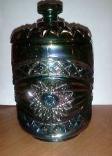 ANTIQUE IMPERIAL CARNIVAL GLASS  CRACKER JAR  CANISTER WITH LID MARKED IG