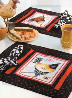 French Hens Place Mats With Napkins Quilt Pattern Pieced CV