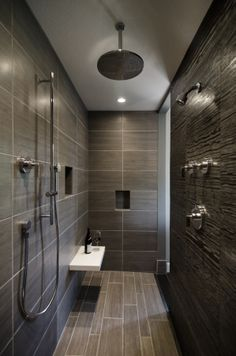 3 shower areas. Open Shower, linear drain. Kelli Walden, Allied ASID, Niwot Interiors.