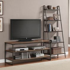 Entertainment center wheels ladder centers large modular wall home industrial stands loft style iron with sta . rustic entertainment center with wheels Bookshelves With Tv, Bookcase Shelves, Shelving, Ladder Bookshelf, Pipe Shelves, Tv Stand Shelves, Wood Cabinet Doors, Loft Stil, Muebles Living