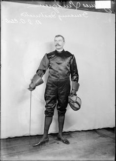 N. I. A. club fencing instructor James Lundgren in Chicago, 1907. Photography by…