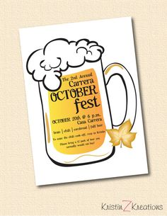 Octoberfest party invitation custom printable by KristinZKreations, $15.00