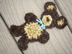So Cute! This Bear is made from Baby Cake Chenille yarn. You can also use a light size 3 yarn. This will go great on pillows, blankets, etc for your kids.