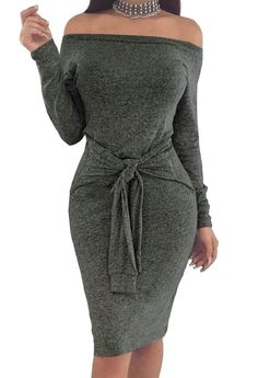 XQS Pencil Midi Dress Womens Sexy Off Shoulder Long Sleeve Bodycon Midi  Dress Dark Grey XS. Club DressesOff ... 885219111