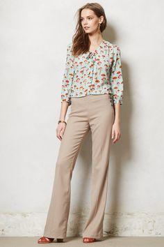 Brighton Wide-Legs beige pants. Really cute green blouse with mushroom print.