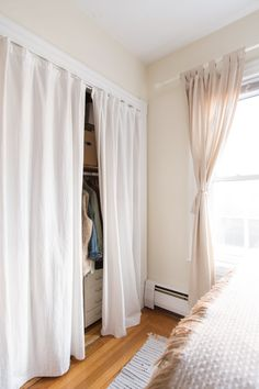 best Ideas for bedroom closet curtains ideas apartment therapy Curtains For Closet Doors, Bedroom Closet Doors, Home Bedroom, Bedroom Decor, Hang Curtains, Bed In Closet, Curtain Wardrobe Doors, Closet Space, Curtains For Bedroom