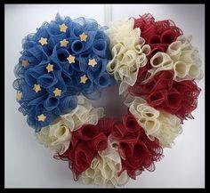 Beautiful Americana Patriotic Flag wreath from www.facebook.com/overthetopwreaths