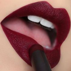 Makeup Geek Iconic Lipstick Risqué. @colorwithcrayons wearing this Velvet Matte Crimson Lippy.