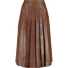 Michael Kors Collection Pleated leather skirt (£559) ❤ liked on Polyvore featuring skirts, chocolate, knee length skirts, stretch skirt, brown pleated skirt, brown leather skirt and leather skirt