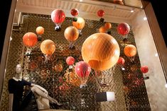 Louis Vuitton's hot air balloon window display theme at the New Bond Street store