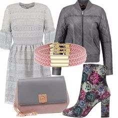 Se amiamo gli abiti romantici, eccone uno in grigio perla, bomber di una…