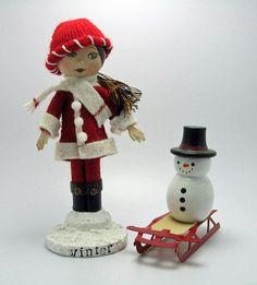 Clothespin Doll -  Winter. $15.00, via Etsy.