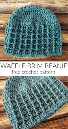 Waffle Brim Beanie Crochet Pattern (CAL for a Cause) - - The Waffle Brim Beanie Crochet Pattern is an easy pattern with great texture! A combination of front post double crochet and back post double crochet creates this fun waffle stitch pattern. Crochet Waffle Stitch, Easy Crochet Hat, Crochet Hat For Women, Crochet Cap, Crochet Scarves, Crochet Crafts, Double Crochet, Crochet Beanies For Men, Knit Baby Hats