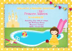Belle Pool Party inspired Birthday Invitation-Digital File by graciegirldesigns77 on Etsy