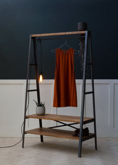 Konk ‖ 'Simple' Industrial Clothes Rail ‖ Modern Open Wardrobe, Minimal Hanging Rail with Storage ‖ Bespoke sizes available! Bespoke Furniture, Solid Wood Furniture, Handmade Furniture, Hanging Wardrobe, Open Wardrobe, Industrial Clothes Rail, Best Clothes Hangers, Diy Clothes Rail, Clothes Racks
