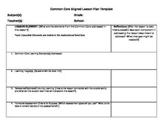 Free common core lesson plan template downloadable blank lesson common core lesson plan template with learning levels chris anderson teacherspayteachers saigontimesfo
