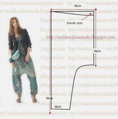Harem Pants pattern- just need to translateSarouel Mod@ en Linethese pants remind me of something you'd wearMoldes Moda por Medida for retirementPatró per als pantalons d'estiu Diy Clothing, Clothing Patterns, Dress Patterns, Sewing Patterns, Shirt Patterns, Sewing Pants, Sewing Clothes, Doll Clothes, Sarouel Pants