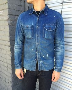 For enthusiasts of raw denim in all its forms; from the rarest Japanese heritage jeans, to the most frayed of jorts. Denim Jacket Fashion, Denim Jacket Men, Denim Jackets, Men's Denim, Work Shirts, Jean Shirts, Denim Shirts, Old Man Fashion, Estilo Denim