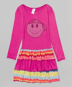 This Magenta Smiley Face Ruffle Dress - Toddler & Girls by One Love Kids is perfect! #zulilyfinds