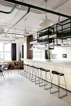 Kitchen Office Interior - My Living Architecture Restaurant, Restaurant Interior Design, Interior Architecture, Industrial Cafe, Industrial Interiors, Modern Industrial, Commercial Design, Commercial Interiors, Café Bar