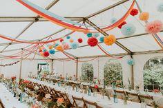 Pom Pom Streamers Flowers Marquee Reception Bright Colourful DIY Back Garden Wedding Streamer Flowers, Wedding Streamers, Streamer Decorations, Wedding Pom Poms, Diy Wedding Decorations, Wedding Themes, Wedding Colors, Wedding Crafts, Wedding Stuff