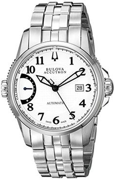 Bulova Mens Calibrator Analog Display Swiss Automatic Silver Watch * Details can be found by clicking on the image. Bulova Watches, Patek Philippe, Luxury Watches For Men, Breitling, Stainless Steel Case, Omega Watch, Chronograph, Wrist Watches, Silver