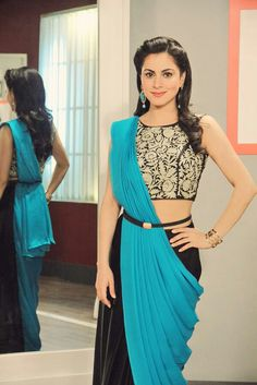 shraddha arya Western Dresses, Indian Dresses, Indian Outfits, Sari Dress, Lehenga Blouse, Lehenga Choli, All Black Dresses, Modern Saree, Trendy Sarees