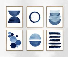 Abstract Watercolor Prints Set of 6 Blue Wall art Minimalist art Indigo Painting Navy Stripes Hexagons Geometric art Blue White Home Decor