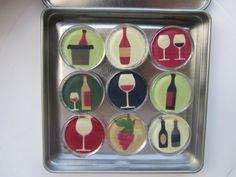 WineThemed Refrigerator Magnets Set of 9 Fridge by DLRjewelry, $16.00