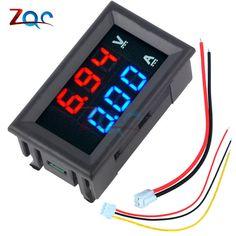 """Mini Digital Voltmeter Ammeter DC 100V 10A Panel Amp Volt Voltage Current Meter Tester 0.28"""" Blue Red Dual LED Display"""
