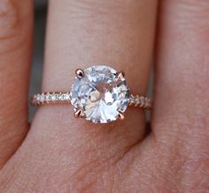 Rose gold engagement ring. Round Peach sapphire by EidelPrecious