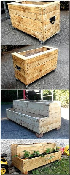 Now here we have presented 2 ideas of creating reclaimed wood pallet planters, one idea is simple, but the second one contains 2 layers. It allows placing a lot of flowers and making the area colorful, the planters are on the wheels which make transferring them easy.