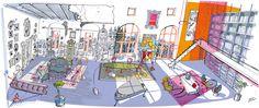 Illustration for La Repubblica Concept Draw, Moleskine, Loft, Drawings, Illustrator, Interior, Europe, Illustrators, Indoor