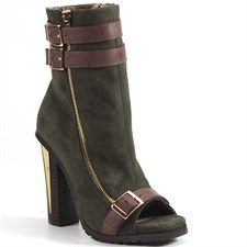 For  Real Faux Leather & Suede Fashion Bootie - Army/Brown