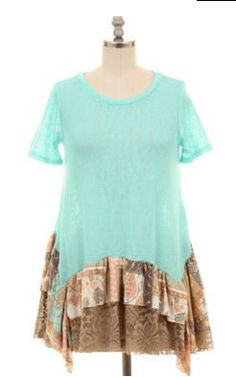 Mint tunic with ruffle lace detail. Small-2-4 medium 6-8 Large 10-12 1X 14-16 2X 18-20 3X 22-24 Classy Cowgirl Co- Gypsy Cowgirl ,Fun & Funky Western cloth