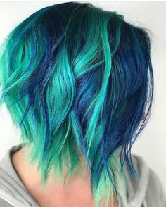 Green and blue hair idea Exotic Hair Color, Hair Color Blue, Cool Hair Color, Galaxy Hair Color, Blue Green Hair, Purple, Bright Hair Colors, Hair Dye Colors, Bright Blue Hair