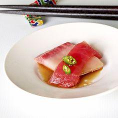 Japanese food - Sashimi with Ponzu and Thai Chilies