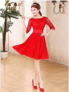 Brinde o vestido de casamento da noiva vestido de noite senhora em vermelho palavra ombro meia manga vestido de renda curto parágrafo em Vestidos de Noite de Casamentos e Eventos no AliExpress.com   Alibaba Group