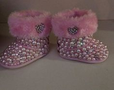 Infant Pink Pearl Bling Boots size 1&2. Ugg like boots
