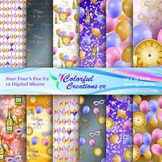 20 % OFF SALE New Year's Eve Digital Papers, New Year's Eve Scrapbook Papers, New Year Digital Bundle, New Year, Personal & Commercial Use Digital Decorations, New Years Eve Games, Cookie Party Favors, New Year's Eve Cocktails, New Years Eve Decorations, Pastel Candy, New Years Eve Weddings, Paper News, Photo Booth Frame