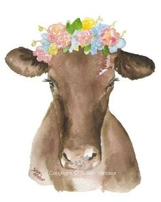 Brown Cow Floral Wreath Watercolor