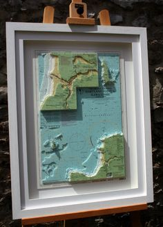 Hand cut 3D nautical relief chart of Hartland to Ilfracombe, North Devon